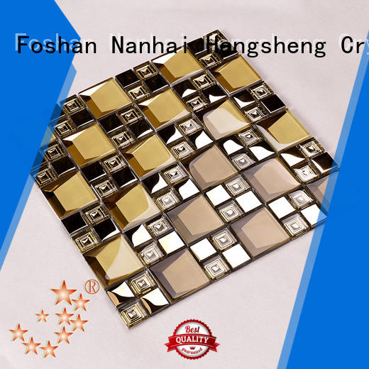 Heng Xing Brand metal blast beige glass mosaic tile manufacture