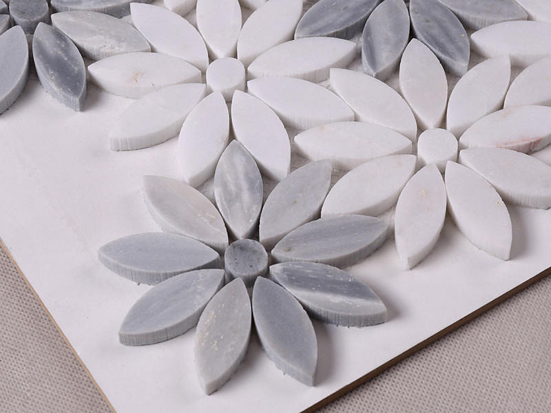 Heng Xing-Find Marble Backsplash Beautiful White And Grey Flower Marble Mosaic-1