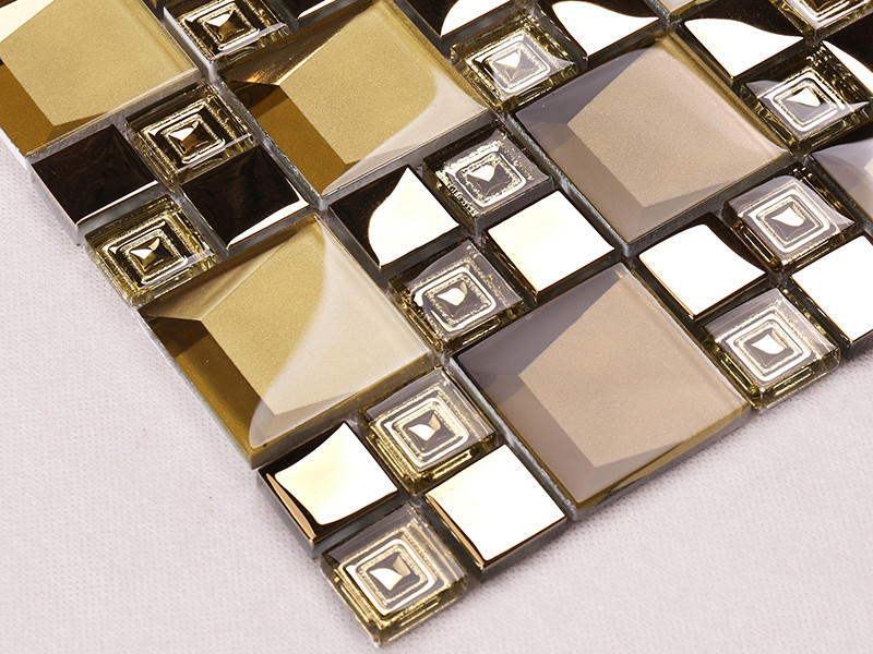 Heng Xing-Manufacturer Of Glass Wall Tiles Golden 3d Beveled Electroplated Glass-1