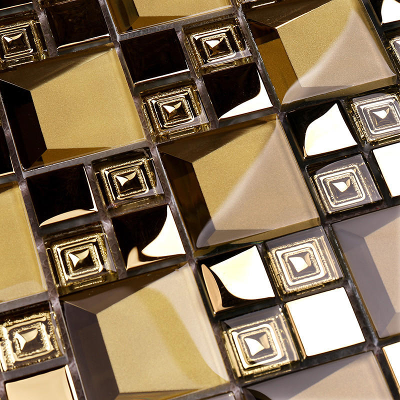 Heng Xing-Golden 3d Beveled Electroplated Glass Mosaic Tiles Hdt04 | 3d Mosaic Tile-2