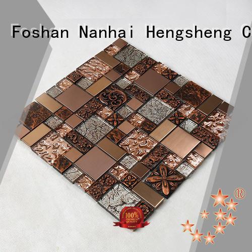 Heng Xing square glass subway tile backsplash engraved for hotel