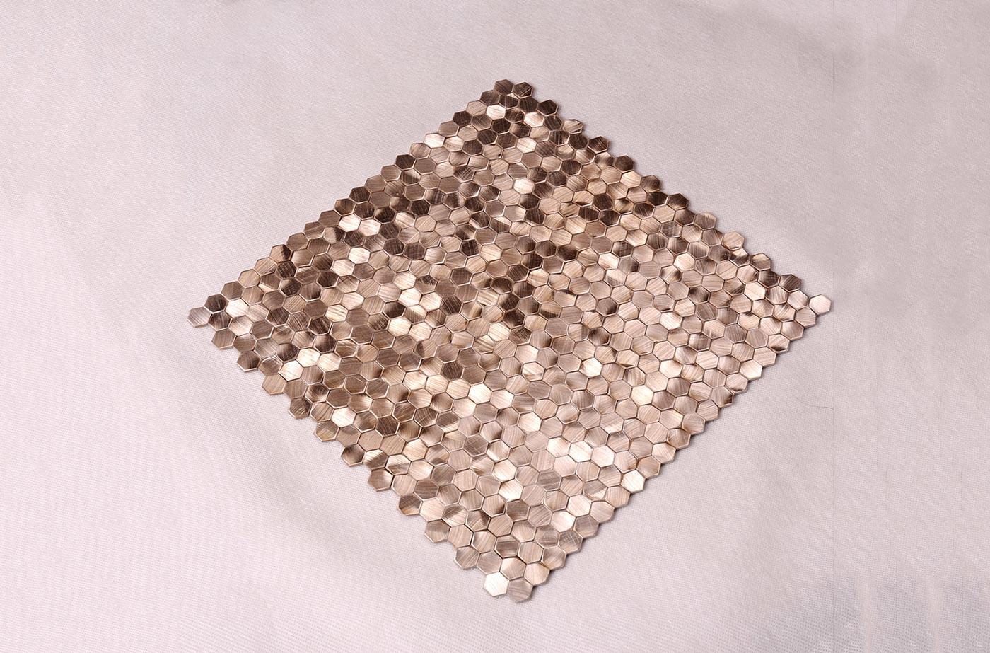 Heng Xing-Metallic Kitchen Tiles, Rose Gold Hexagon Stainless Steel Mosaic