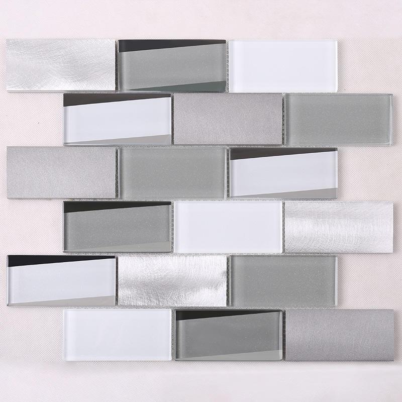 3x4 Grey Beveled Metal Glass Tile HMB13