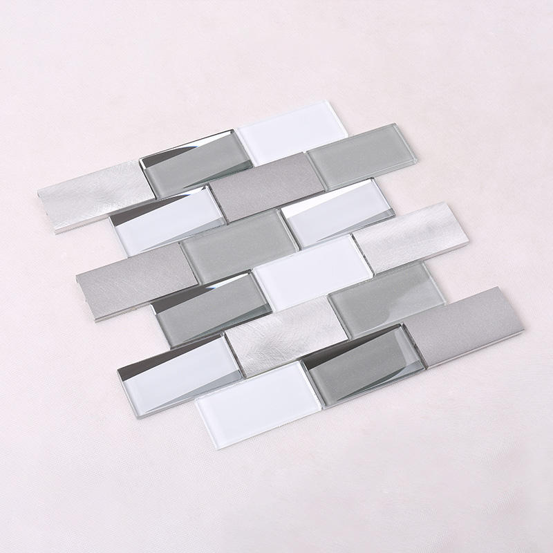 3x4 Grey Beveled Metal Glass Tile HMB13