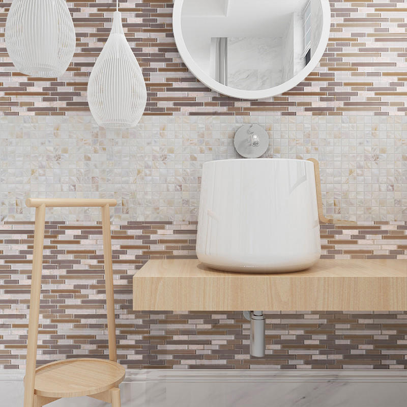 Hot herringbone glass mosaic tile gold beige Heng Xing Brand