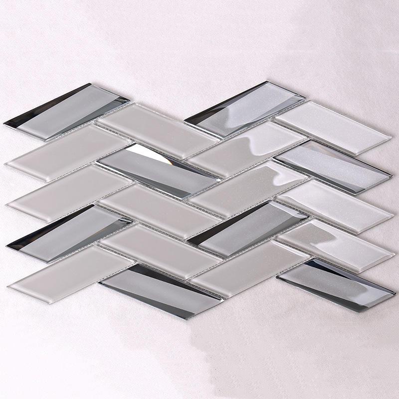 Beige Herringbone Beveled Glass Mosaic Tile for Kitchen  HMB41