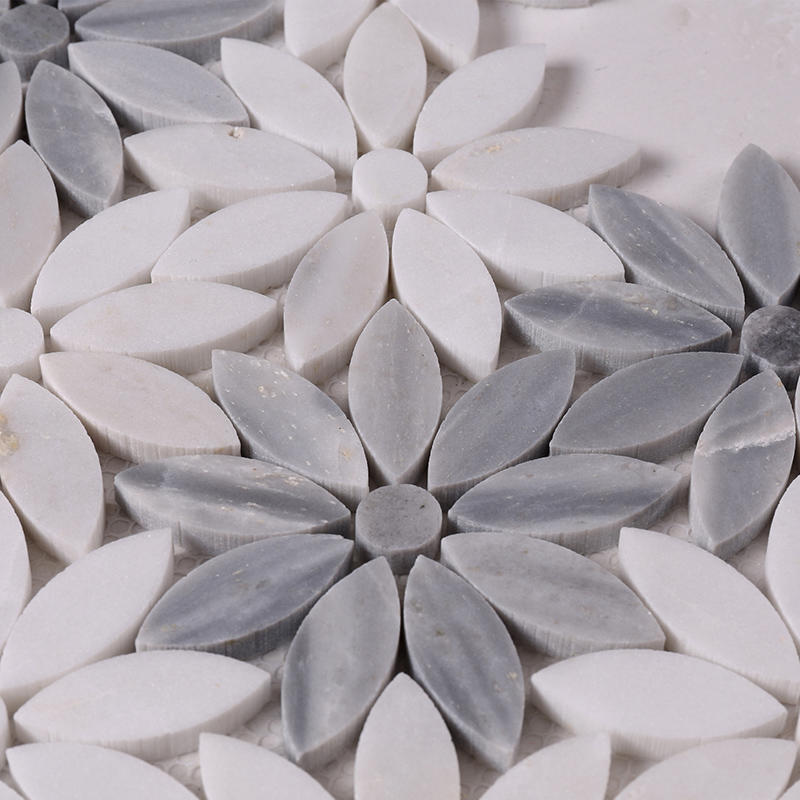 Beautiful White and Grey Flower Marble Mosaic Floor and Backsplash Tile  HSC44