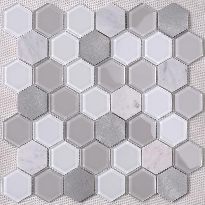 Grey Hexagon Backsplash Glass Tile mix Aluminum Alloy and Marble Back Splash Mosaic Tile  HSL41