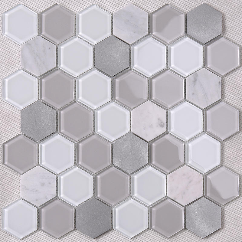 Grey Hexagon Backsplash Glass Tile mix Aluminum Alloy and Marble Back Splash Mosaic Tile  HSL41