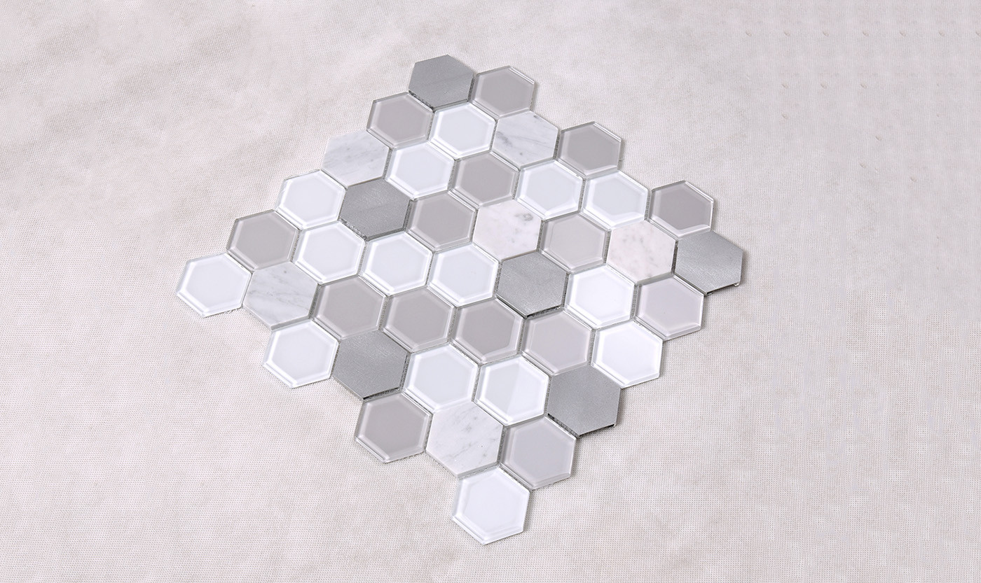 Heng Xing-Grey Hexagon Glass Mix Aluminum Alloy Marble Mosaic Tile
