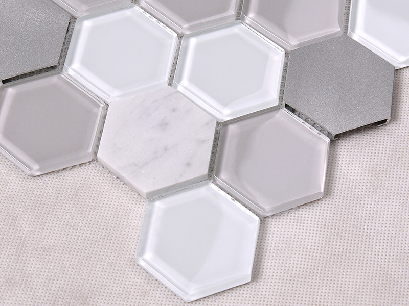 Heng Xing-Grey Hexagon Glass Mix Aluminum Alloy Marble Mosaic Tile-1