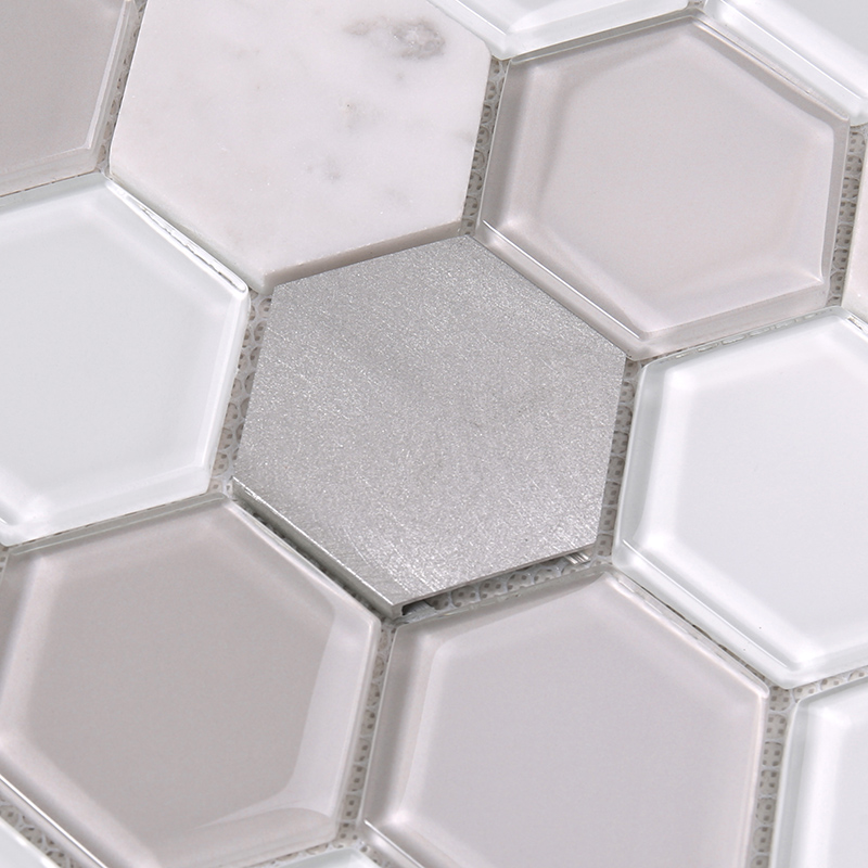 Heng Xing-Grey Hexagon Glass Mix Aluminum Alloy Marble Mosaic Tile-2