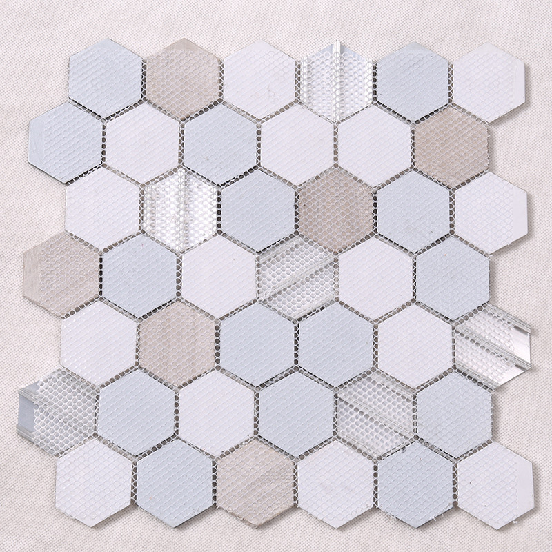 Heng Xing-Grey Hexagon Glass Mix Aluminum Alloy Marble Mosaic Tile-4