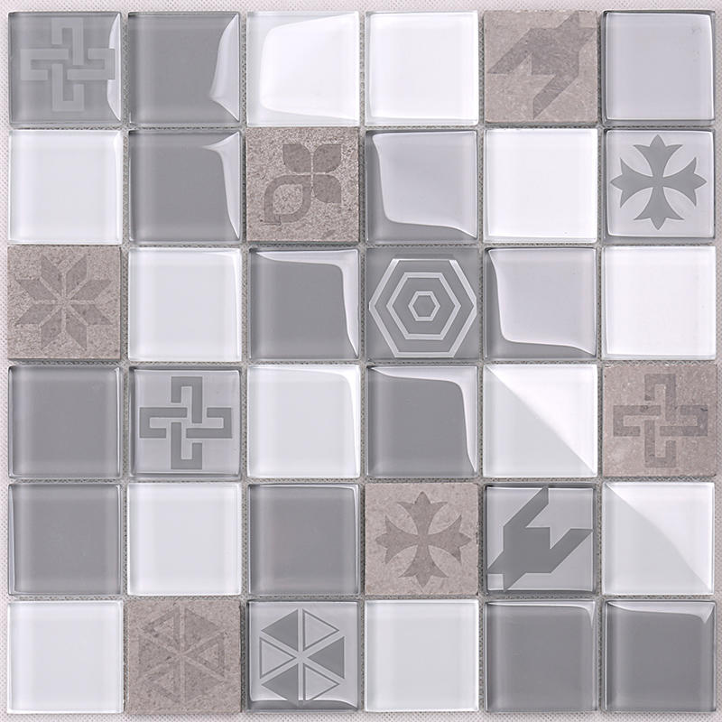 Hot Sale Light Grey Engraved Pattern Crystal Glass Mixed Marble Mosaic Tile HSP06