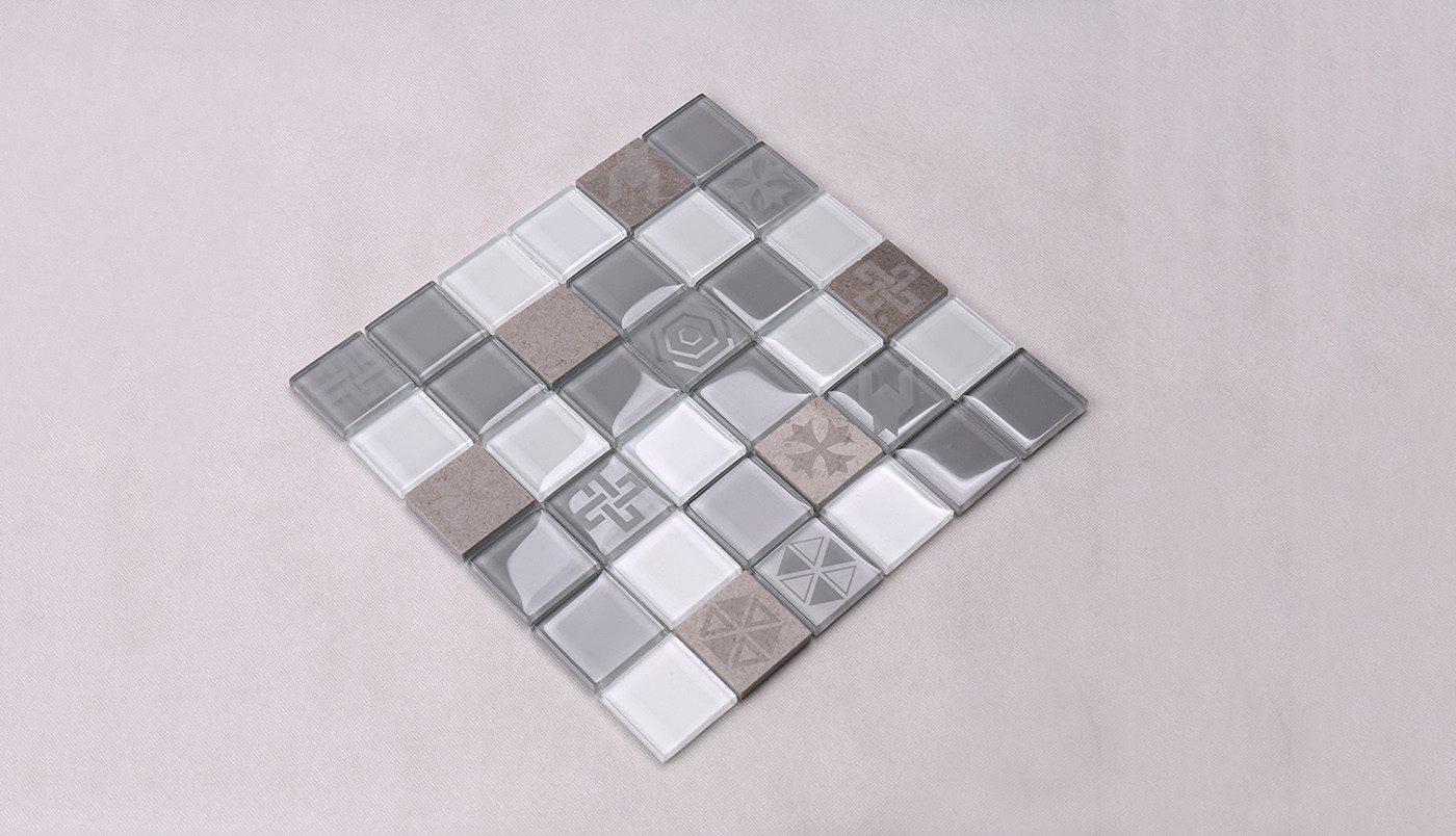 Heng Xing-Grey Pool Tiles, Light Grey Glass Marble Mosaic Tile - Hengsheng