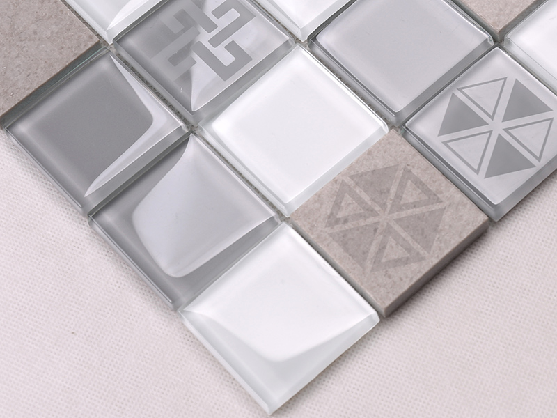 Heng Xing-Grey Pool Tiles, Light Grey Glass Marble Mosaic Tile - Hengsheng-1