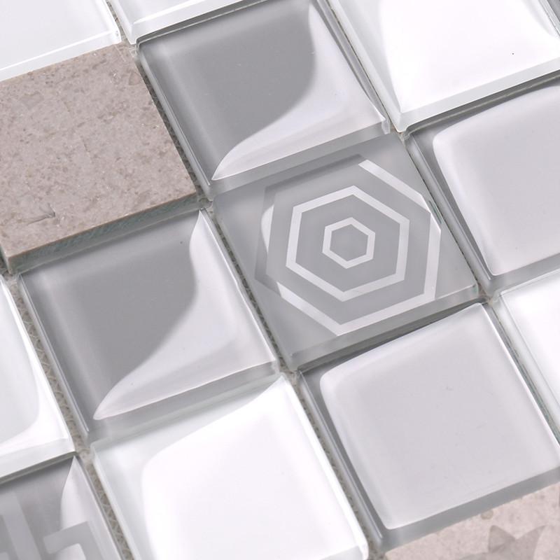 Heng Xing-Grey Pool Tiles, Light Grey Glass Marble Mosaic Tile - Hengsheng-2