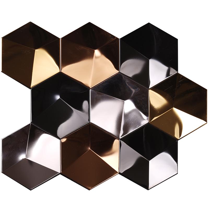 Heng Xing-Metal Backsplash 3d Effect Golden Hexagon Stainless Steel Metal Mosaic-1