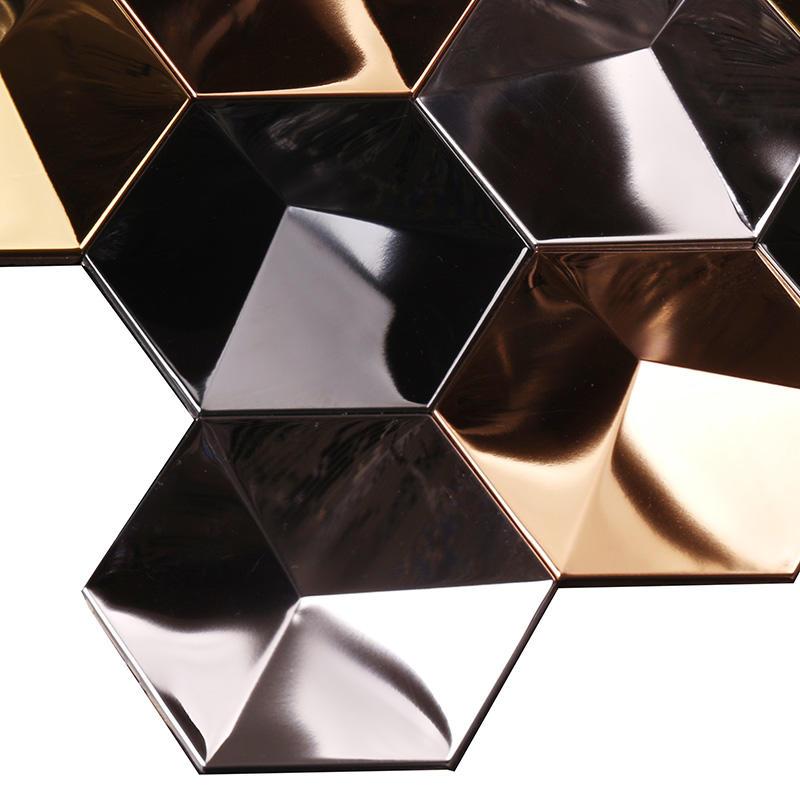 3D Effect Golden Hexagon Stainless Steel Metal Mosaic Wall Tile  HSW18008