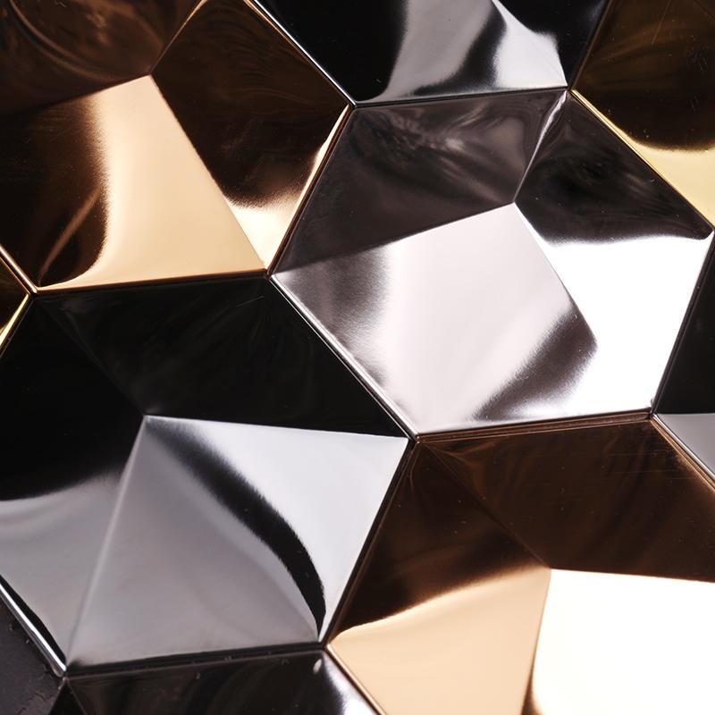 Heng Xing-Metal Backsplash 3d Effect Golden Hexagon Stainless Steel Metal Mosaic