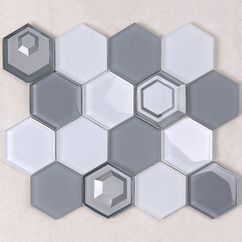 Heng Xing-Glass Subway Tile 3x3 Grey And White Hexagon Glass Mosaic-3