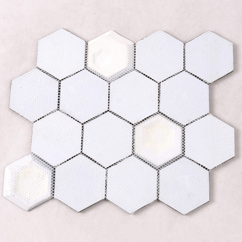 Heng Xing-Glass Subway Tile 3x3 Grey And White Hexagon Glass Mosaic-4