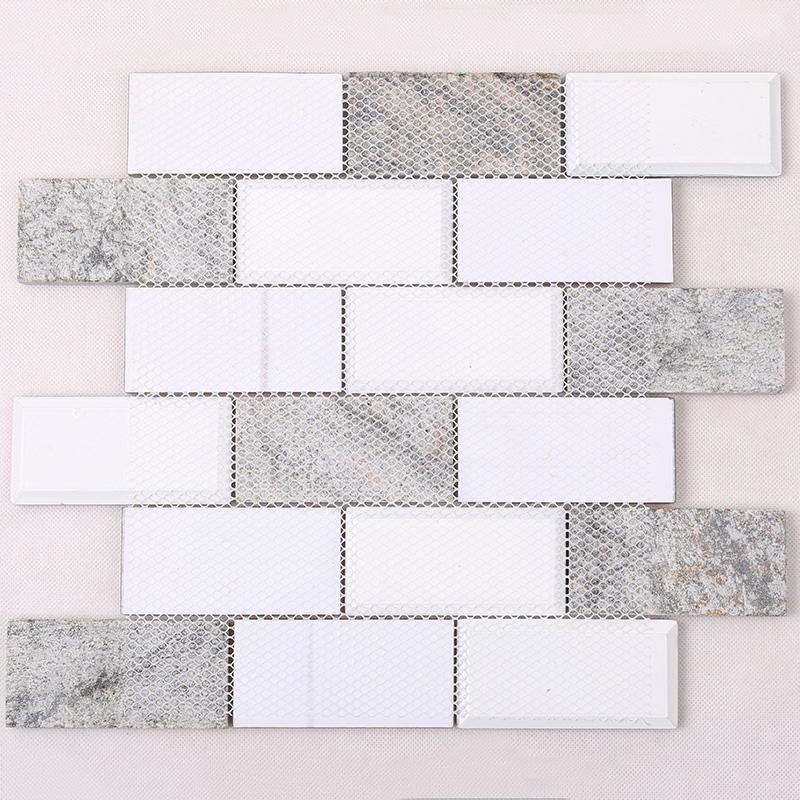 Simple Grey Beveled Glass Mix Stone Mosaic Tile  HMB23