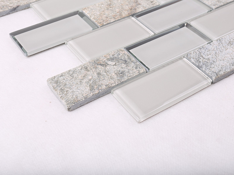 Heng Xing-Simple Grey Beveled Glass Mix Stone Mosaic Tile - Hengsheng-1