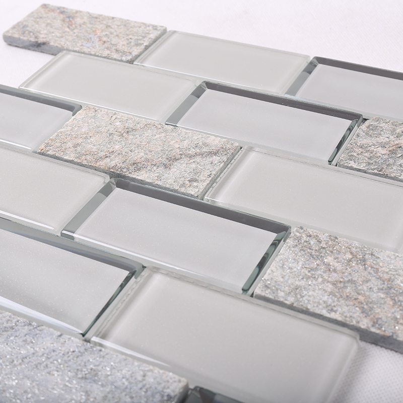 Heng Xing-Simple Grey Beveled Glass Mix Stone Mosaic Tile - Hengsheng-2