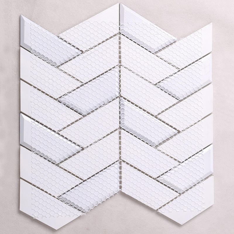 New White Trapezoid Kitchen Wall Glass Mosaic Tile  HMB35