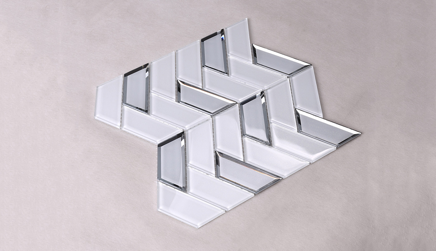 Heng Xing-Best Glass Wall Tiles New White Trapezoid Kitchen Wall Glass Tile