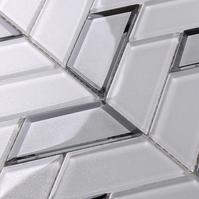 Heng Xing-Best Glass Wall Tiles New White Trapezoid Kitchen Wall Glass Tile-2