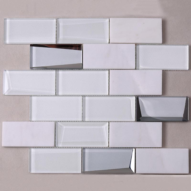 White Square Beveling Glass Mosaic Bathroom Wall Tile  HMB48