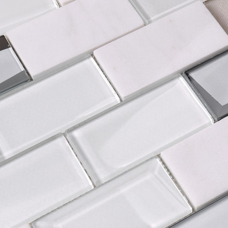 White Square Beveling Glass Mosaic Bathroom Wall Tile  HMB48