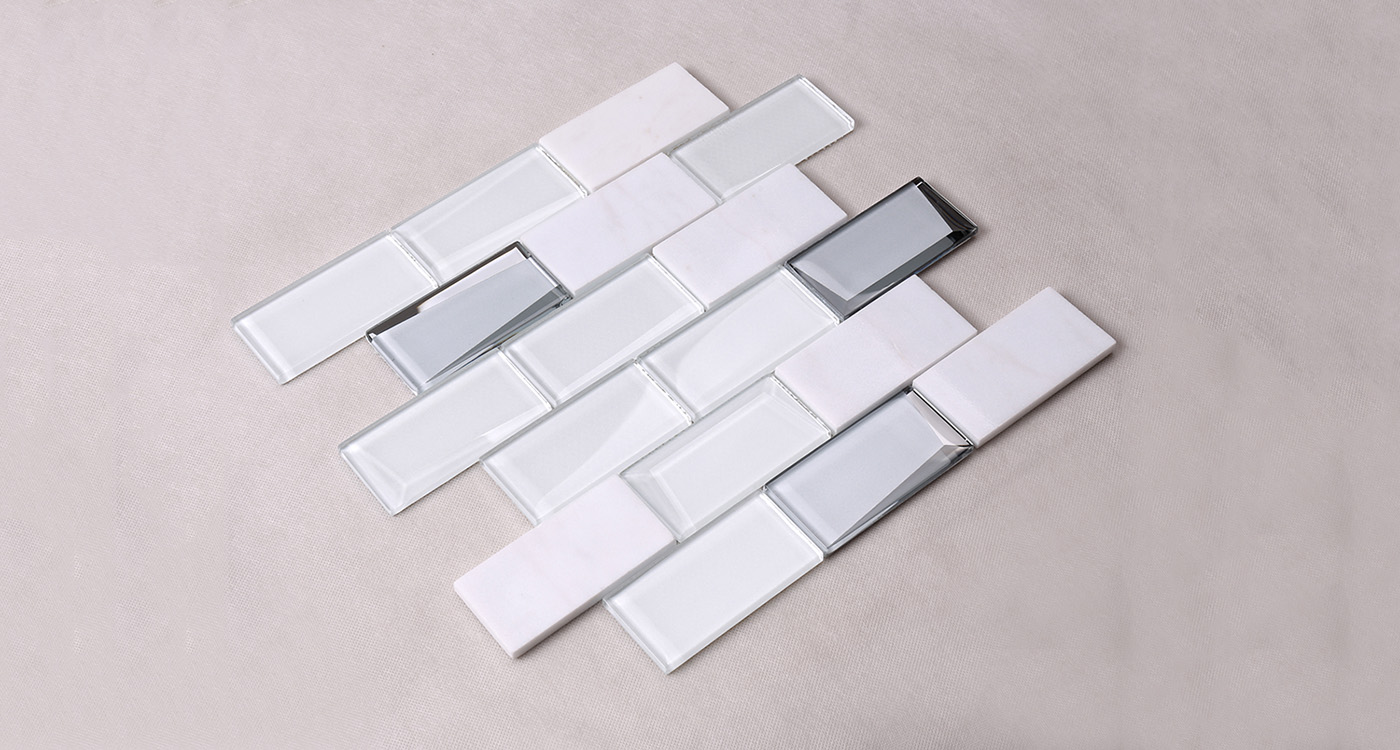 Heng Xing-Pool Tile, White Square Beveling Glass Mosaic Bathroom Wall Tile