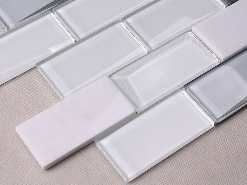 Heng Xing-Pool Tile, White Square Beveling Glass Mosaic Bathroom Wall Tile-1
