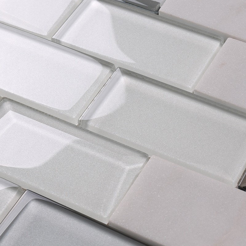 Heng Xing-Pool Tile, White Square Beveling Glass Mosaic Bathroom Wall Tile-2