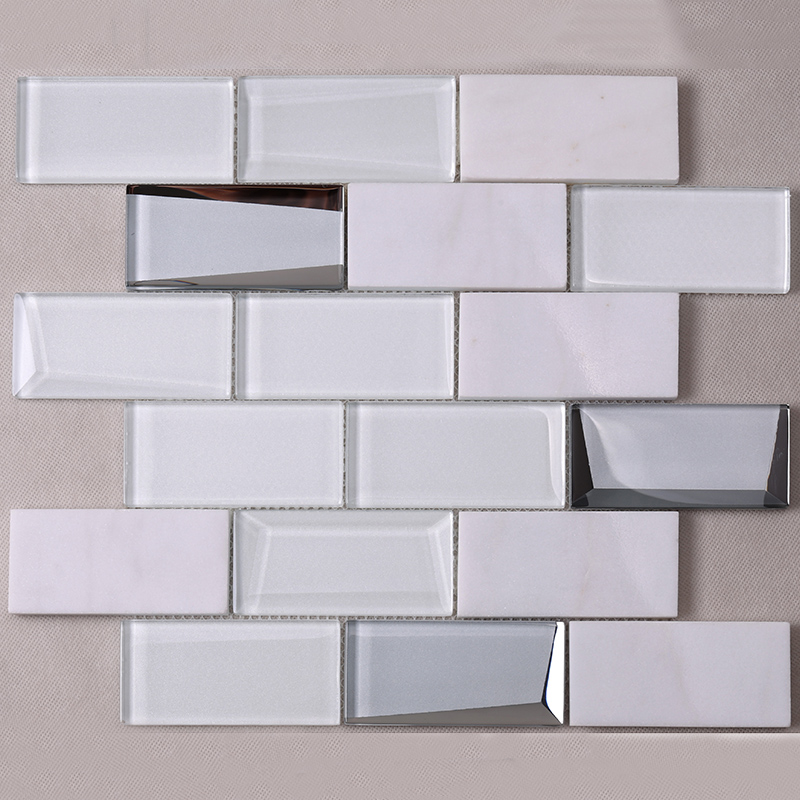 Heng Xing-Pool Tile, White Square Beveling Glass Mosaic Bathroom Wall Tile-3