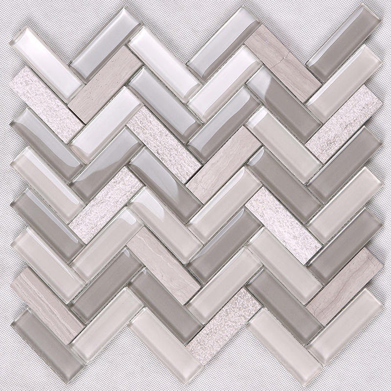 Herringbone Kitchen Glass Stone Mosaic Wall Tile  HYM19
