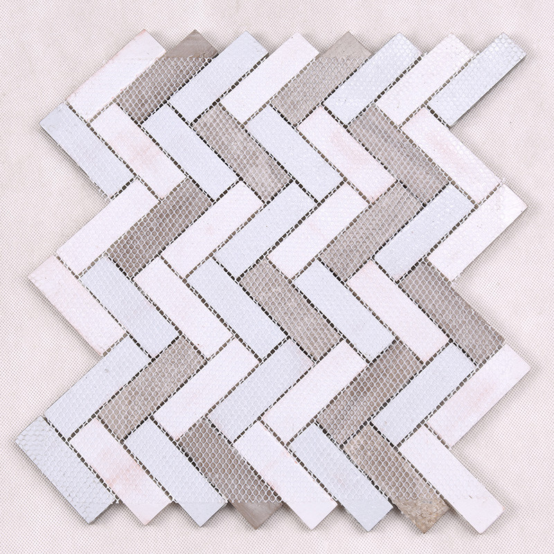 Heng Xing-Find Kitchen Backsplash Tile Herringbone Kitchen Glass Stone Mosaic Tile-4
