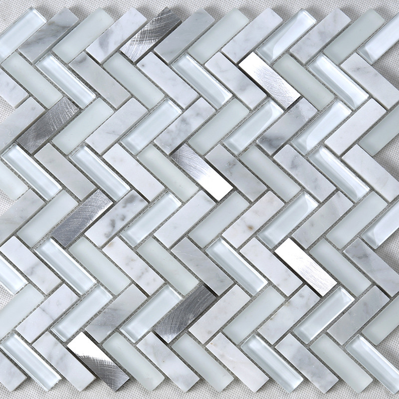 Heng Xing-Pool Glass Tile Manufacture | White Herringbone Glass Stone-3