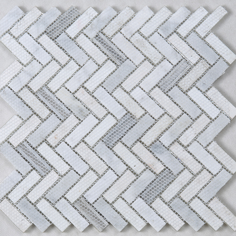 Heng Xing-Pool Glass Tile Manufacture | White Herringbone Glass Stone-4