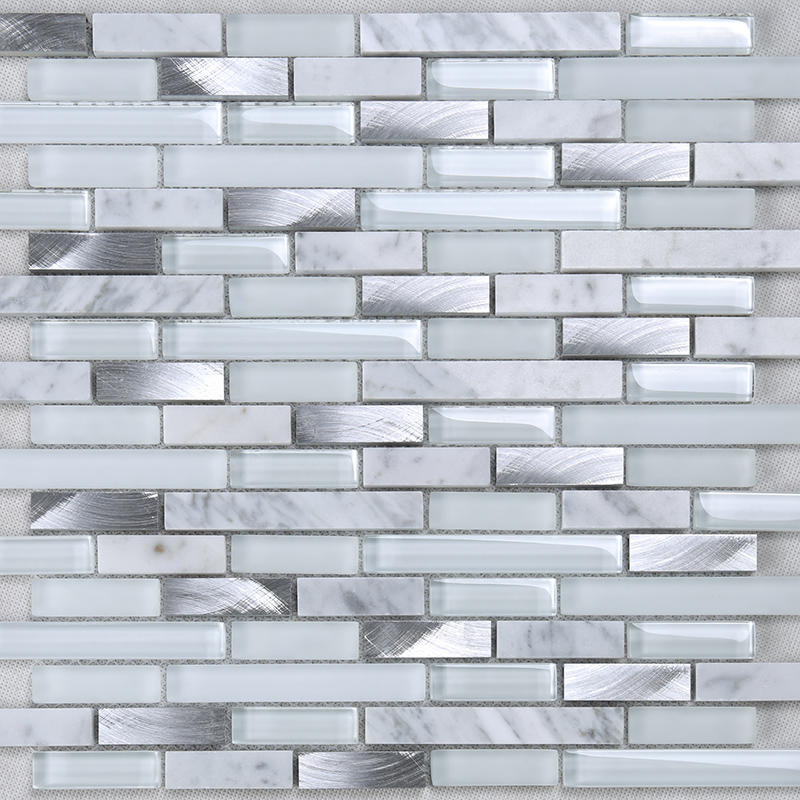 White Glass Metal Mix Stone Mosaic for Kitchen Wall Decor  YMS17