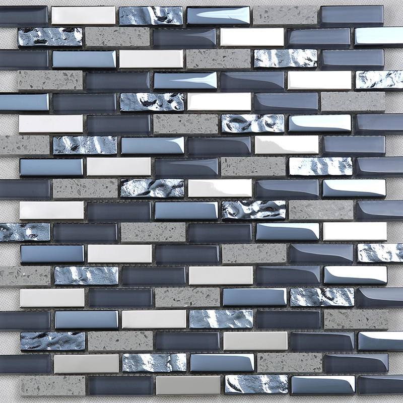 Interlock Electroplated Glass Mix Stone Metal Mosaic Tile for Wall  YMS09