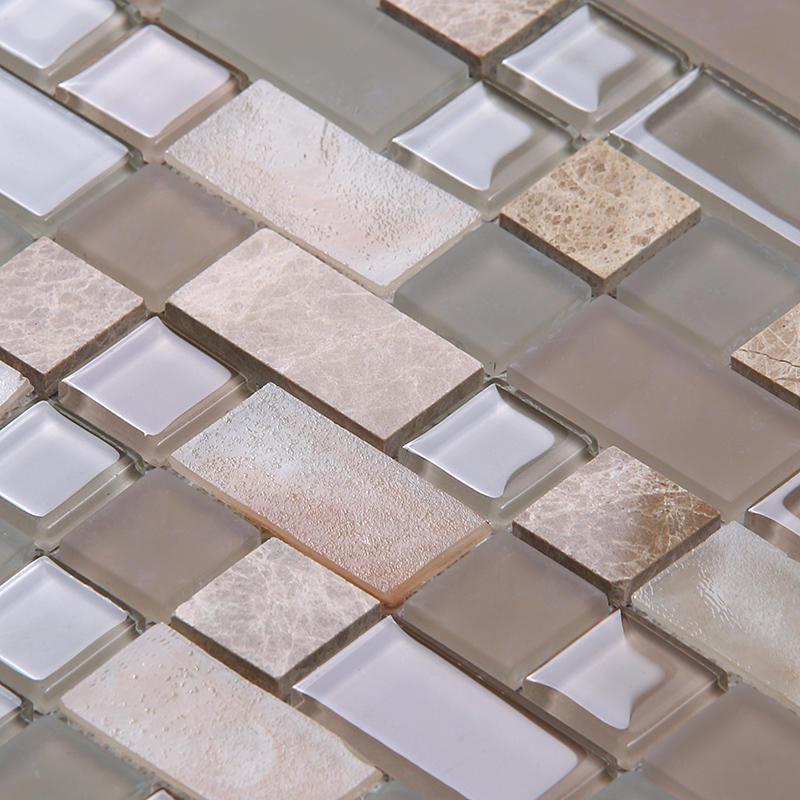Square Tans Glass Mix Marble Mosaic Tile Backsplash Tile Kitchen HYC03