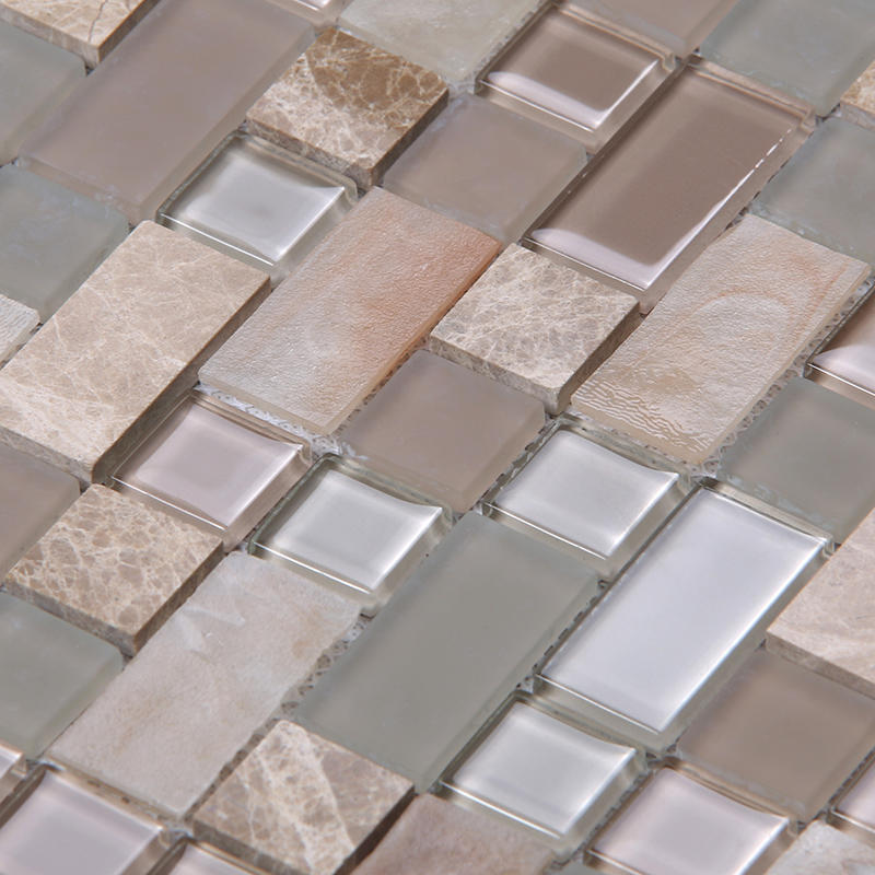 Square Tans Glass Mix Marble Mosaic Tile Backsplash Tile Kitchen HYC03