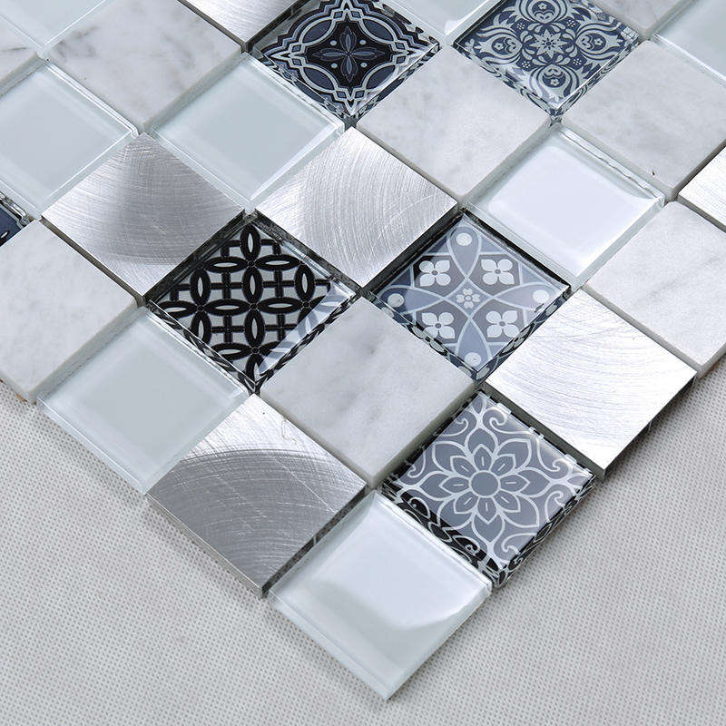 3D Printing Square Glass Stone Metal Mosaic Tile for Home Decoration  HUV19
