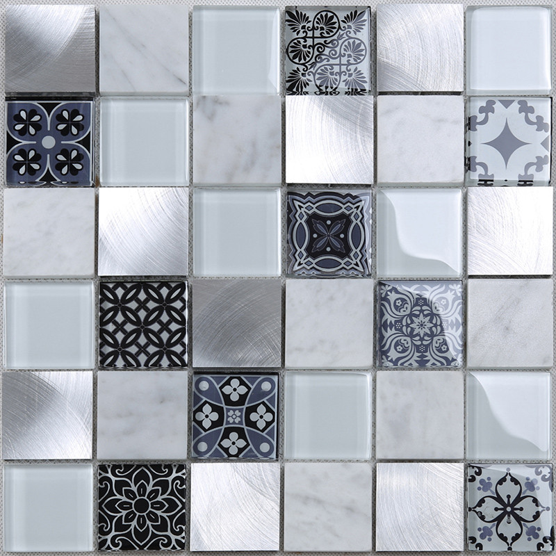 Heng Xing-Glass Metal Tile | 3d Printing Square Glass Stone Metal Mosaic Tile For-3