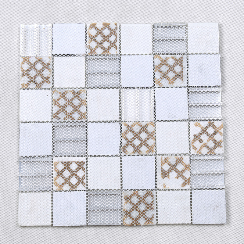 Heng Xing-Glass Metal Tile | 3d Printing Square Glass Stone Metal Mosaic Tile For-4