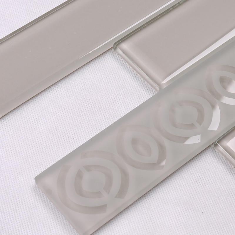 Beige Sand Blast Glass Mosaic Subway Tile  HSP34